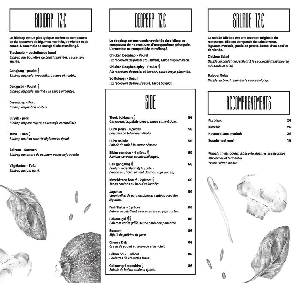 bibibap BORDEAUX Menu